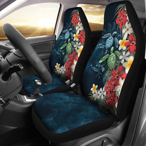 Kanaka Maoli (Hawaiian) Car Seat Covers - Sea Turtle Tropical Hibiscus | Love The World