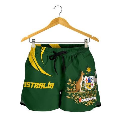 1stTheWorld Australia Women Shorts, Australia Coat Of Arms Green A10
