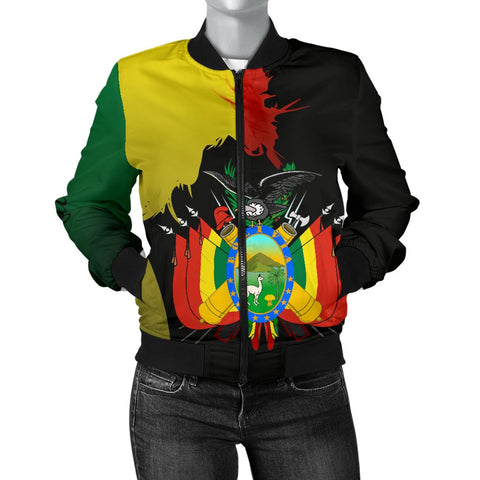 Bolivia Flag-Coat of Arms Women's Bomber Jacket A15