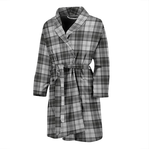 Image of Douglas Grey Modern Tartan Men's Bath Robe