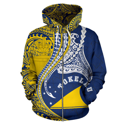 Tokelau All Over Zip-Up Hoodie Manta Polynesian TH65