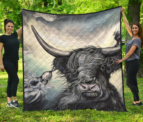 Image of Scotland Highland Cow Premium Quilt | Blanket | Home Decor