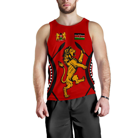 Kenya Lion Men Tank Top Maasai Shield K4