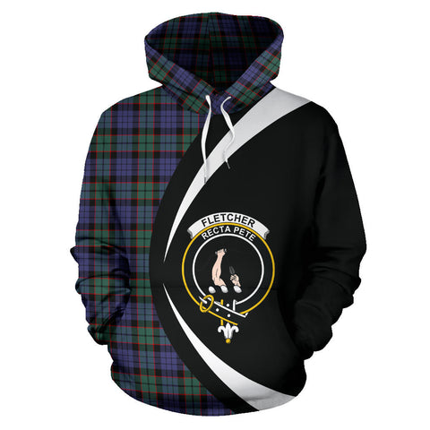 (Custom your text) Fletcher Modern Tartan Circle Hoodie