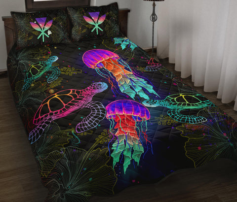 Image of Kanaka Maoli (Hawaiian) Quilt Bed Set - Turtle And Jellyfish Colorful | Love The World