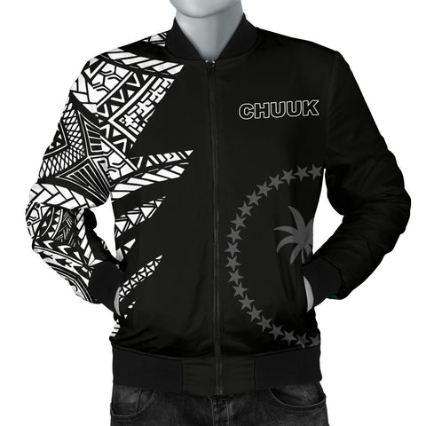 Image of Chuuk Pattern Men's Bomber Jackets - Black Style - FSM - BN912