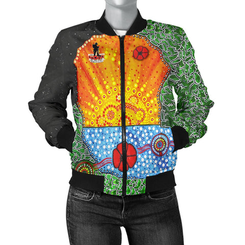 Aboriginal Australian Anzac Day Women Bomber Jacket - Lest We Forget Poppy