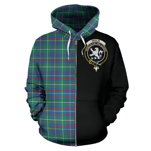Inglis Ancient Tartan Hoodie Half Of Me | 1sttheworld.com