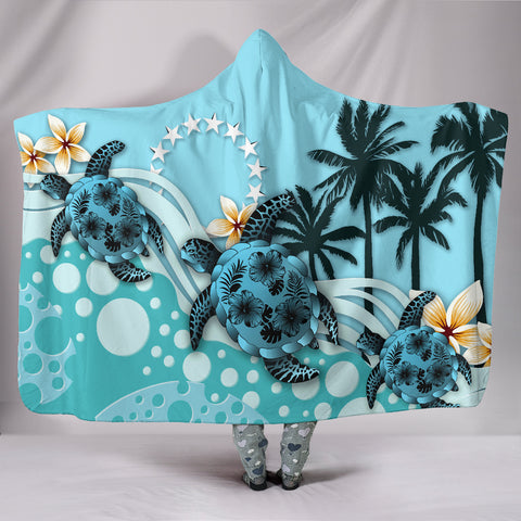 Cook Islands Hooded Blanket - Blue Turtle Hibiscus | Love The World