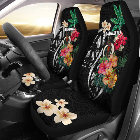 Image of Vanuatu Car Seat Covers Coat Of Arms Polynesian With Hibiscus