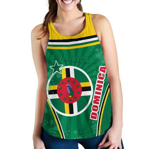 Dominica Women Racerback Tan Circle Stripes Flag Version Front | 1tsthewolrd.com