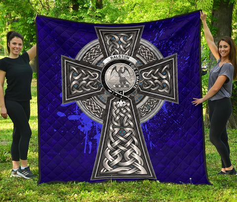 Image of Ralston Crest Scottish Celtic Cross Scotland Quilt | Home Set | Over 300 Clans