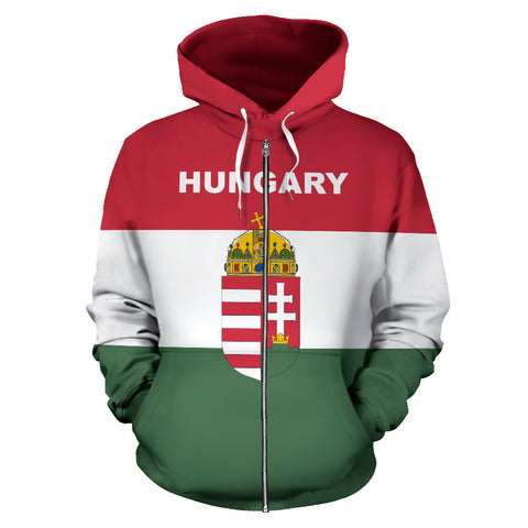 Hungary Flag and Coat of Arms Zip Up Hoodie - Front - Hoodie Red mix White and Green color - by 1sttheworld for Men and Women