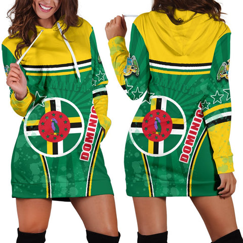 Dominica Women Hoodie Dress Circle Stripes Flag Version | 1sttheworld.com