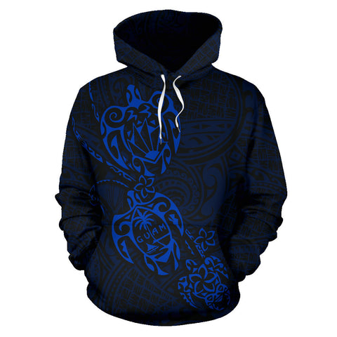 Guam Family Turtles Map Polynesian Hoodie - Blue front