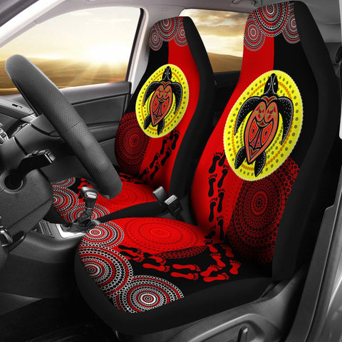 Australia Car Seat Cover - Aboriginal Dot Painting Seat Covers Turtle