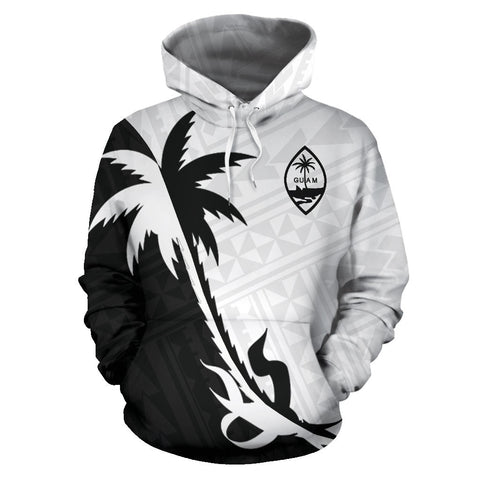 Guam Coconut Tree Hoodie Black White