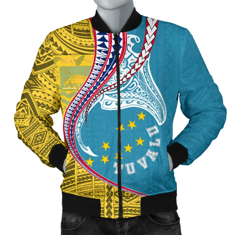 Image of Tuvalu Men's Bomber Jacket Manta Polynesian