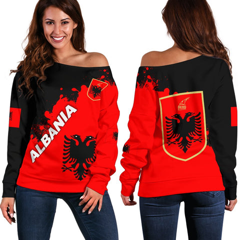 Albania Women Off Shoulder Sweater Red Braved  Version K12