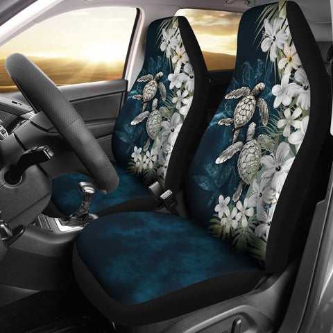 Kanaka Maoli (Hawaiian) Car Seat Covers - Sea Turtle Tropical Hibiscus And Plumeria White A24