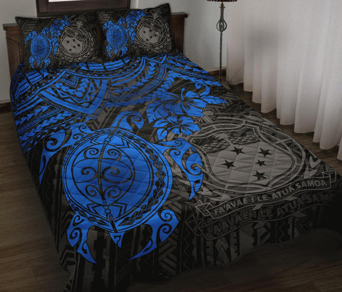Samoa Polynesian Quilt Bed Set - Blue Turtle