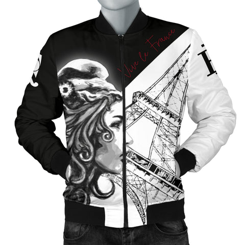 France National Day Men's Bomber Jacket - Vive la France - Marianne Eiffel