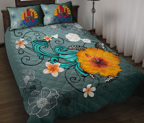 Tahiti Quilt Bed Set - Map Turtle Hibiscus A24