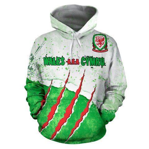 Welsh Dragon Scratch Hoodie - Front for Men and Women