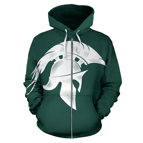 American Zip Up Hoodie - Spartans Warrior - Green - Front - For Men and Women