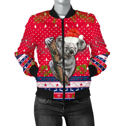 Australia Christmas Aboriginal Women Bomber Jacket Koala Version Front | 1sttheworld