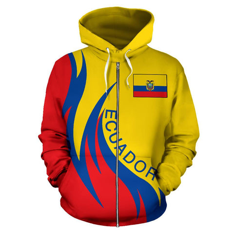 Ecuador Hoodie (Zip) Coat Of Arms Fire Style