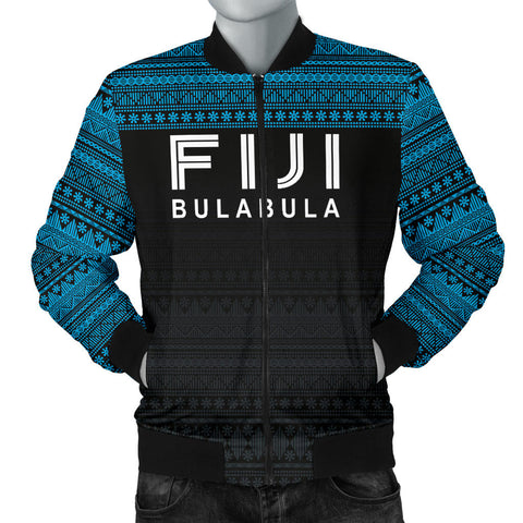Image of Fiji Bomber Jacket - Fiji Bulabula Tapa Patterns - Men - BN02