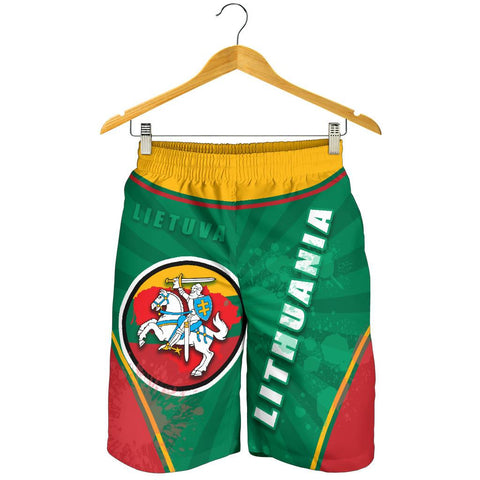 Image of Lithuania - Lietuva Men Shorts Circle Stripes Flag Proud Version Front | 1sttheworld