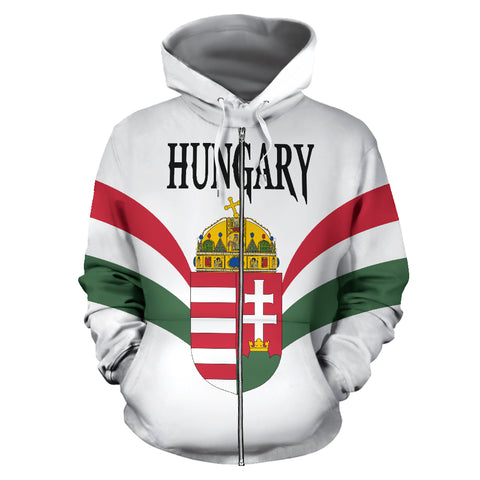 Wings of Hungary Zip Up Hoodie - Red mix White and Green color - Front - For Men and Women