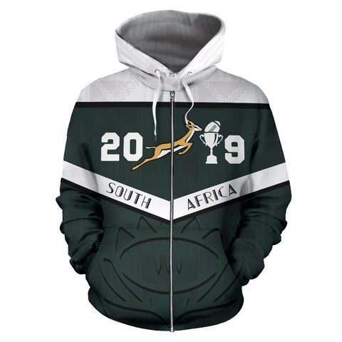South Africa Personalized Zip Up Hoodie Springbok Champion 2019 front