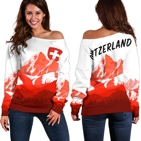 Switzerland Women's Off Shoulder Sweater - Swiss Alps