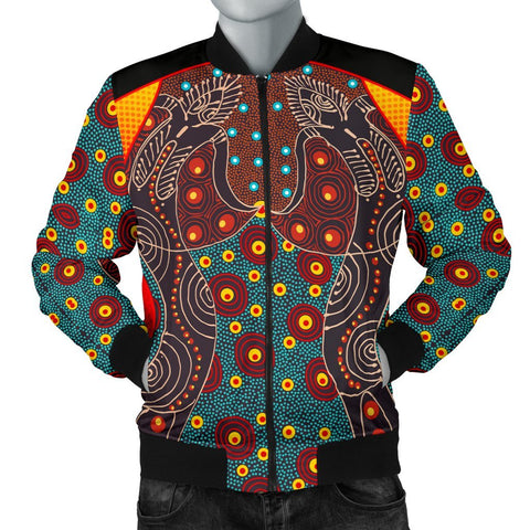 Australia Men's Bomber Jacket - Aboriginal Sublimation Dot Pattern Style (Red)