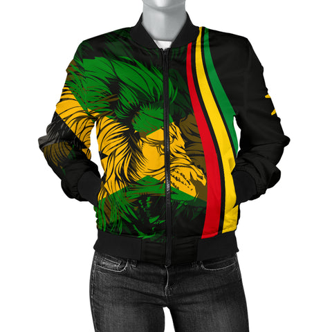 1stTheWorld Jamaica Flag Rasta Lion Women's Bomber Jacket - Ten Style - J6