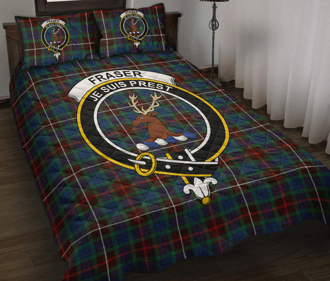 Fraser Hunting Ancient Tartan Quilt Bed Set Clan Badge