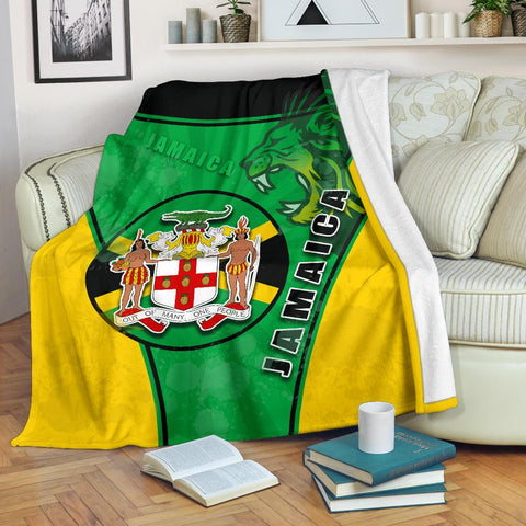 Jamaica Lion Premium Blanket Circle Stripes Flag Version | 1sttheworld