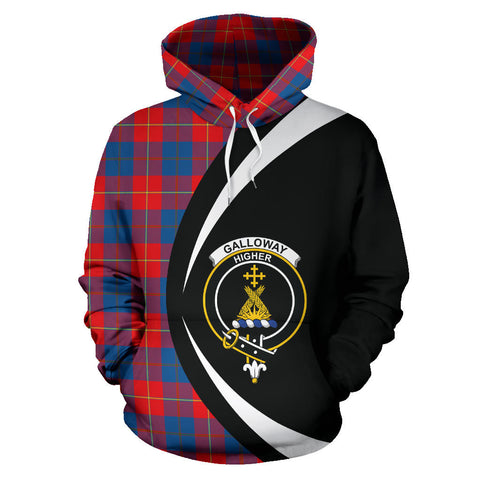 (Custom your text) Galloway Red Tartan Circle Hoodie