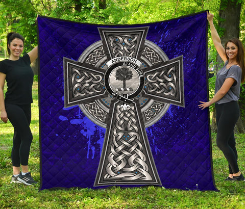 Image of Anderson Crest Scottish Celtic Cross Scotland Quilt | Home Set | Over 300 Clans
