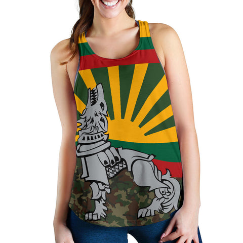 Lithuania Women's Racerback Tank Iron Wolf A7