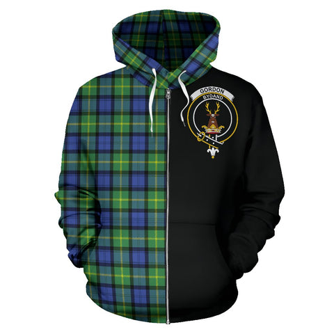 Gordon Old Ancient Tartan Hoodie Half Of Me | 1sttheworld.com