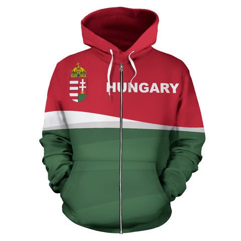 Hungary Zip Up Hoodie - Red mix White and Green color - Front - For Men and Women