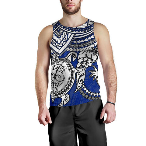 Chuuk Polynesian Men's Tank Top - White Turtle (Blue)- BN1518