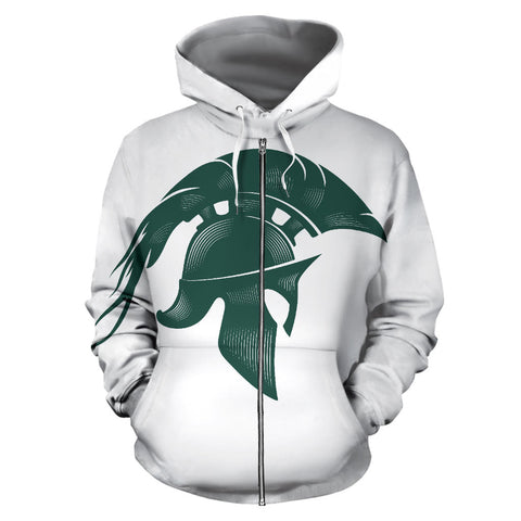 American Zip Up Hoodie - Spartans Warrior - White - Front - For Men and Women