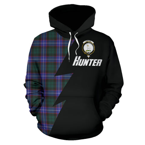 Tartan All Over Hoodie - Hunter Clans Badge - BN