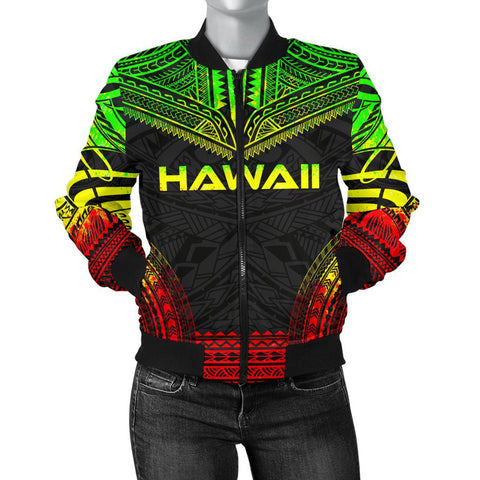 Image of Hawaii Polynesian Chief Women'S Bomber Jacket - Reggae Version