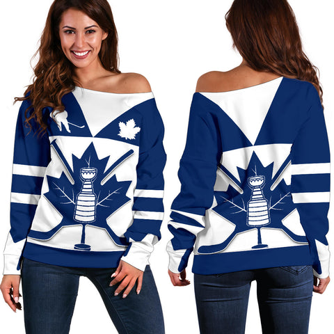 Canada Hockey Maple Leaf Champion Off Shoulder Sweater | Clothing